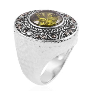 Green CZ, Swiss Marcasite Ring in Black Oxidized Stainless Steel (Size 7.0) 3.20 ctw