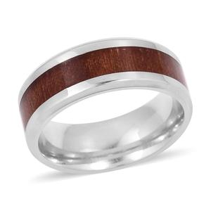Siam Rosewood Enameled Men's Ring (Size 13) and Cross Pendant Necklace (24 in) in Stainless Steel