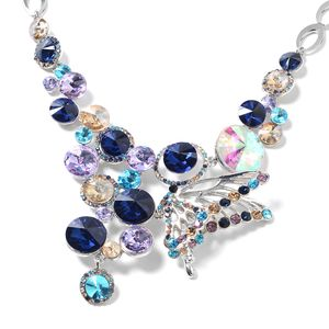 Simulated Blue Sapphire, Simulated Multi Gemstone Silvertone Butterfly Necklace (20 in)