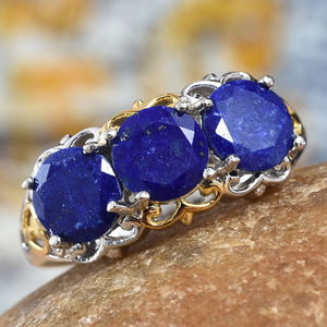 KARIS - Lapis Lazuli Ring in ION Plated 18K YG and Platinum Bond Brass (Size 5.0) 4.50 ctw