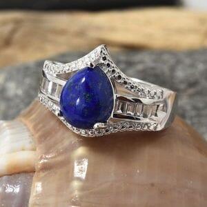 KARIS Collection - Lapis Lazuli, White Topaz Platinum Bond Brass Ring (Size 10.0) TGW 4.65 cts.