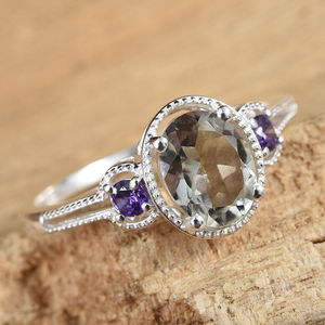 Green Amethyst, Purple CZ Ring in Sterling Silver (Size 5.0) 2.05 ctw