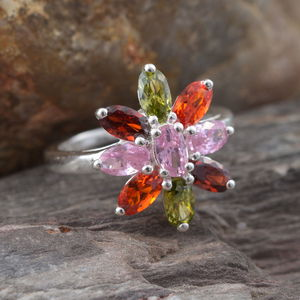 Multi Color CZ Floral Ring in Sterling Silver (Size 6.0) 3.07 ctw