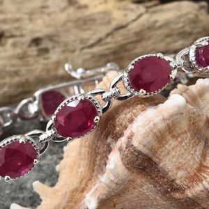 Niassa Ruby Bracelet in Platinum Over Sterling Silver (7.25 In) 25.40 ctw