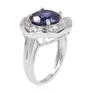 Blue and White CZ Ring in Silvertone (Size 9.0) 6.52 ctw