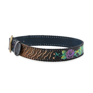 SUKRITI Hand Painted Black Floral and Animal Print, Navy Genuine Leather Reversible Belt - L/XL