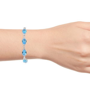 Blue Glass, White CZ Bracelet in Silvertone (7.25 In) 24.71 ctw