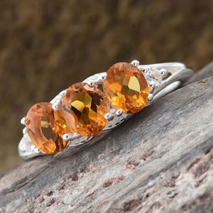 Serra Gaucha Citrine, White Topaz Ring in Sterling Silver (Size 6.0) 1.00 ctw