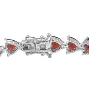 Mozambique Garnet Earrings and Bracelet (7.25 In) in Platinum Over Sterling Silver 24.75 ctw