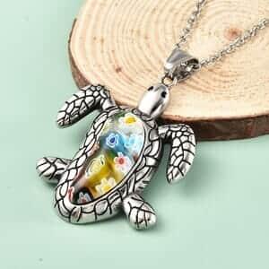 Multi Color Murano Millefiori Glass Turtle Pendant Necklace (20 in) in Black Oxidized Stainless Steel