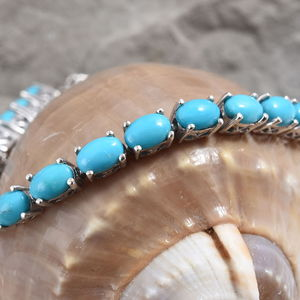 Arizona Sleeping Beauty Turquoise Bracelet in Platinum Over Sterling Silver (7.25 In) 12.50 ctw