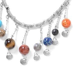 Multi Gemstone Black Oxidized Iron Drop Charm Necklace on Wax Cord (18 in) 215.00 ctw