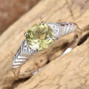 KARIS - Brazilian Green Gold Quartz Ring in Platinum Bond Brass (Size 5.0) 1.64 ctw