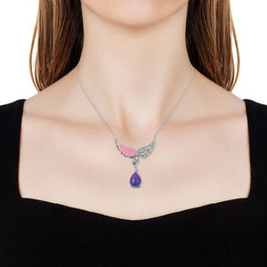 Burmese Purple Jade, Multi Gemstone Wings Drop Necklace in Sterling Silver (18 in) 10.23 ctw