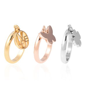 Set of 3 ION Plated YRG & Stainless Steel Stackable Rings with Charm (Size 8)