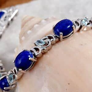 Lapis Lazuli, Madagascar Paraiba Apatite Platinum Over Sterling Silver Bracelet (7.25 In) 15.50 ctw