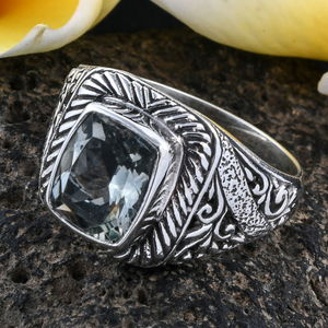 BALI LEGACY Green Amethyst Ring in Sterling Silver (Size 8.0) 2.84 ctw