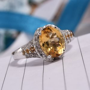 Brazilian Citrine, Cambodian Zircon Ring in Platinum Over Sterling Silver (Size 7.0) 4.27 ctw