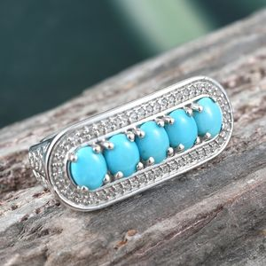 Arizona Sleeping Beauty Turquoise, Cambodian Zircon Ring in Platinum Over Sterling Silver (Size 8.0) 2.00 ctw