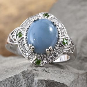 India Blue Opal, Multi Gemstone Ring in Platinum Over Sterling Silver (Size 7.0) 4.10 ctw