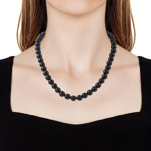 Shungite Beads Platinum Over Sterling Silver Necklace (20 in) 335.00 ctw