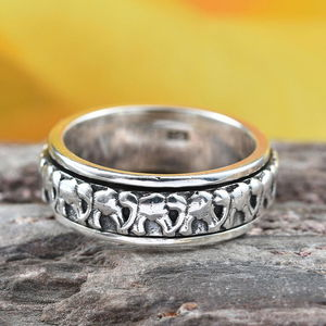 Artisan Crafted Elephant Spinner Ring in Sterling Silver (Size 9.0) (Avg. 5.34 g)
