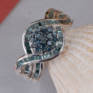 Blue Diamond (IR) Ring in Rhodium & Platinum Over Sterling Silver (Size 7.0) 1.00 ctw