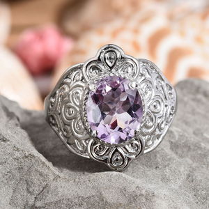 Rose De France Amethyst Ring in Stainless Steel (Size 5.0) 4.40 ctw