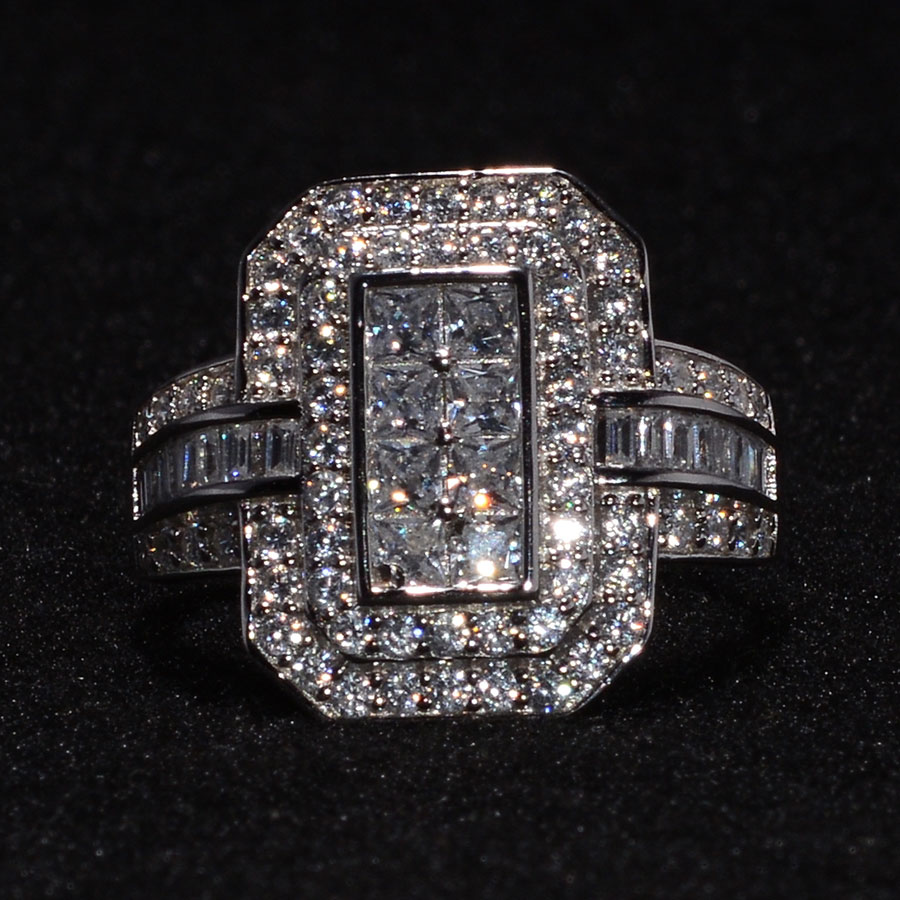 LUSTRO STELLA CZ 3-Tier Halo Ring in Sterling Silver (Size 9.0) 4.14 ctw