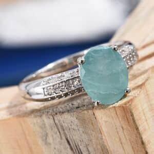 Grandidierite, Diamond (0.25 ct) Ring in Platinum Over Sterling Silver (Size 6.0) 3.85 ctw