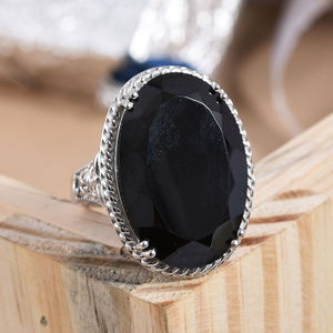 Thai Black Spinel Cocktail Ring in Platinum Over Sterling Silver (Size 5.0) 59.00 ctw