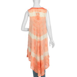 Red, Multi Color Tie Dye Sleeveless Umbrella Dress (48x22 in, 100% Rayon)