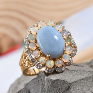 India Blue Opal, Multi Gemstone Ring in Vermeil YG Over Sterling Silver (Size 10.0) 7.32 ctw