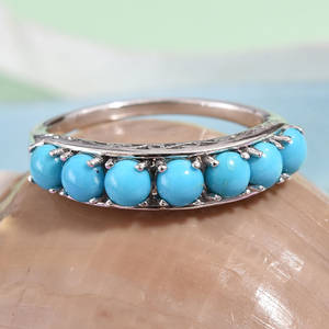 Arizona Sleeping Beauty Turquoise Ring in Platinum Over Sterling Silver (Size 9.0) 2.10 ctw