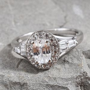 Natural White Zircon Ring in Platinum Over Sterling Silver (Size 11.0) 3.00 ctw