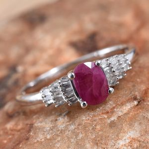 Burmese Ruby, Diamond (0.18 ct) Ring in Platinum Over Sterling Silver (Size 9.0) 1.18 ctw