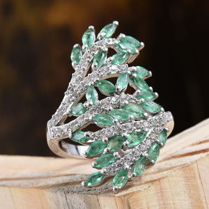 Socoto Emerald, Cambodian Zircon Bypass Elongated Ring in Platinum Over Sterling Silver (Size 6.0) 3.12 ctw