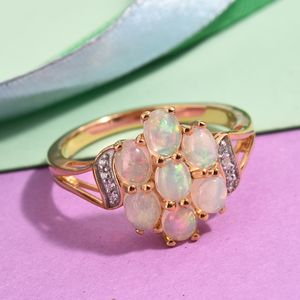 Ethiopian Welo Opal, Cambodian Zircon Ring in Vermeil YG Over Sterling Silver (Size 8.0) 1.65 ctw