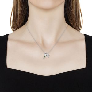 Ethiopian Welo Opal, Multi Gemstone Lovebirds Pendant Necklace (18 in) in Vermeil YG Over & Sterling Silver 0.78 ctw