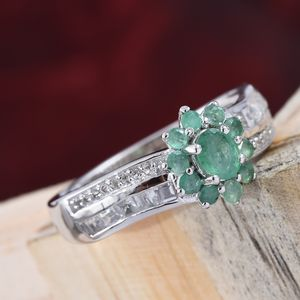Socoto Emerald, Multi Gemstone Ring in Platinum Over Sterling Silver (Size 5.0) 1.43 ctw