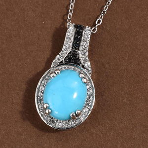 Arizona Sleeping Beauty Turquoise, Multi Gemstone Pendant Necklace (20 in) in Platinum Over Sterling Silver 3.60 ctw