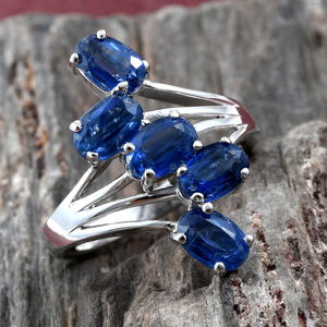 Kashmir Kyanite 5 Stone Ring in Platinum Over Sterling Silver (Size 6.0) 3.25 ctw