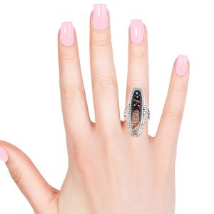 Santa Fe Style Onyx, Multi Gemstone Ring in Sterling Silver (Size 9.0) 2.70 ctw
