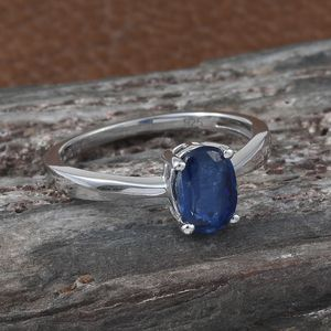 Kashmir Kyanite Solitaire Ring in Platinum Over Sterling Silver (Size 10.0) 1.05 ctw