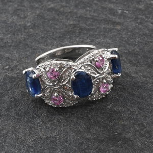 Kashmir Kyanite, Multi Gemstone Ring in Platinum Over Sterling Silver (Size 10.0) 4.00 ctw