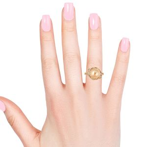 South Sea Golden Cultured Pearl 10-10.5 mm, White Zircon Ring in Vermeil YG Over Sterling Silver (Size 7.0) 0.77 ctw