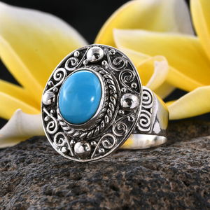 Bali Legacy Arizona Sleeping Beauty Turquoise Ring in Sterling Silver (Size 5.0) 2.25 ctw