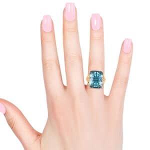 Aqua Glass, White CZ Star Ring in Goldtone (Size 8.0) 0.25 ctw
