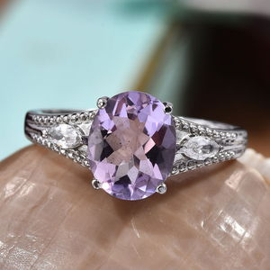 Rose De France Amethyst, White CZ Ring in Stainless Steel (Size 11.0) 3.40 ctw