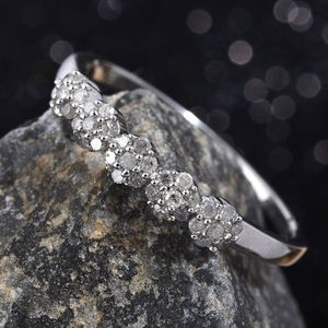 Diamond Ring in Platinum Over Sterling Silver (Size 8.0) 0.25 ctw